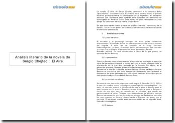 Análisis literario de la novela de Sergio Chejfec : El Aire