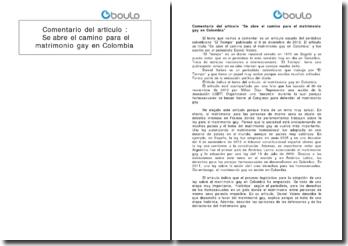 Comentario del articulo Se abre el camino para el matrimonio gay en Colombia
