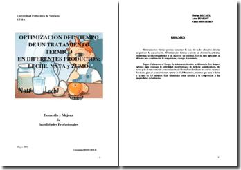 Optimización del tiempo de un tratamiento termico en differentes productos : Leche, nata y zumo