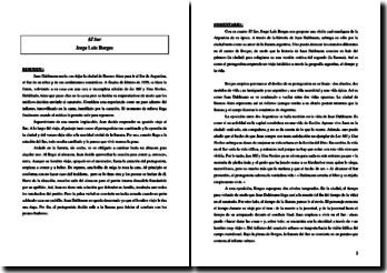 Jorge Luis Borges, El Sur, análisis