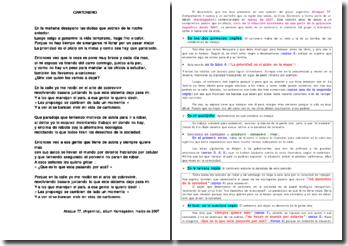 Etude de la chanson Cartonero, en cours d'espagnol (Terminale)
