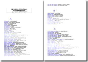 Expressions idiomatiques et proverbes Français-Espagnol