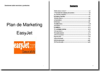 Decisiones sobre servicios y productos : Plan de Marketing EasyJet