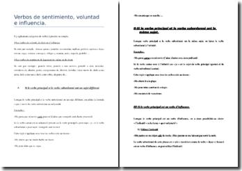 Les verbes de sentiment, de volonté et d'influence en Espagnol