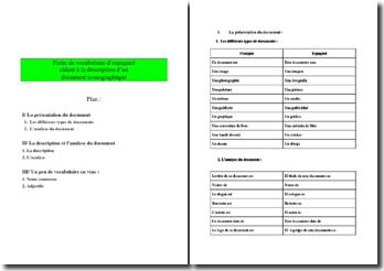 Vocabulaire espagnol pour décrire un document iconographique