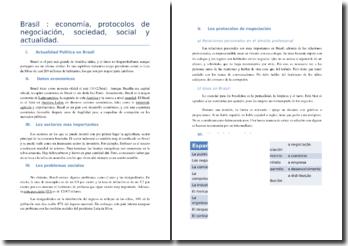 Brasil: economía, protocolos de negociación, sociedad, social y actualidad
