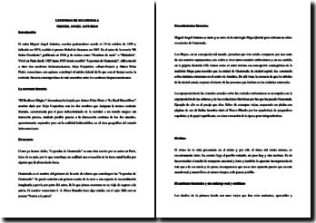 Miguel Angel Asturias, Leyendas de Guatemala, Extracto: comentario