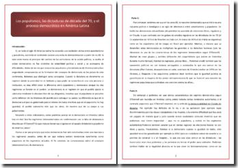 Los populismos, las dictaduras de década del 70, y el proceso democrático en América Latina