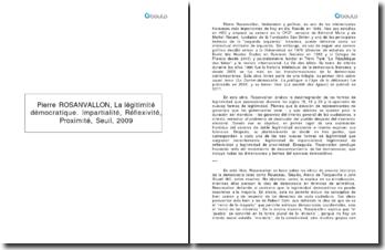 La légitimité démocratique. Impartialité, Réflexivité, Proximité - Pierre Rosanvallon