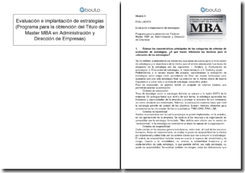 Evaluación e implantación de estrategias (Programa para la obtención del Titulo de Master MBA en Administración y Dirección de Empresas)