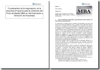 Fundamentos de la negociación, en la empresa (Programa para la obtención del Título de Master MBA en Administración y Dirección de Empresas)