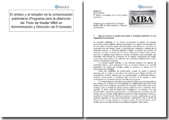 El emisor y el receptor en la comunicación publicitaria (Programa para la obtención del Título de Master MBA en Administración y Dirección de Empresas)