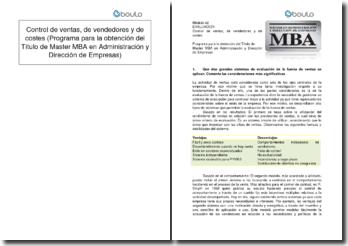 Control de ventas, de vendedores y de costes (Programa para la obtención del Título de Master MBA en Administración y Dirección de Empresas)