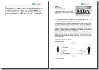 El comercio electrónico (Programa para la obtención del Título de Master MBA en Administración y Dirección de Empresas)