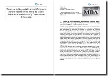 Bases de la Seguridad Laboral (Programa para la obtención del Título de Master MBA en Administración y Dirección de Empresas)