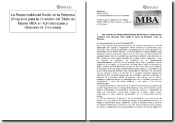 La Responsabilidad Social en la Empresa (Programa para la obtención del Título de Master MBA en Administración y Dirección de Empresas)