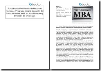 Fundamentos en Gestión de Recursos Humanos (Programa para la obtención del Título de Master MBA en Administración y Dirección de Empresas)