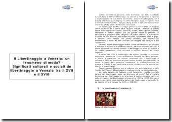 Il Libertinaggio a Venezia: un fenomeno di moda? Significati culturali e sociali de libertinaggio a Venezia tra il XVII e il XVIII