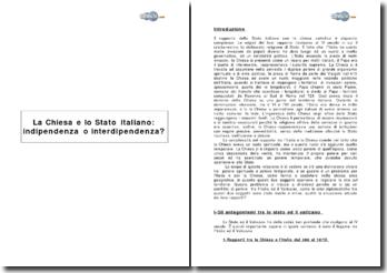 La Chiesa e lo Stato italiano: indipendenza o interdipendenza?