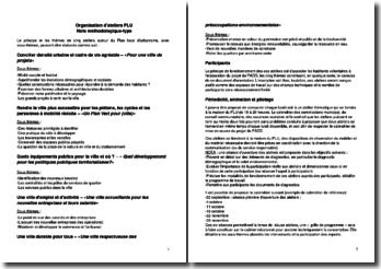 Note méthodologique-type pour l'organisation d'ateliers PLU (plan local d'urbanisme)