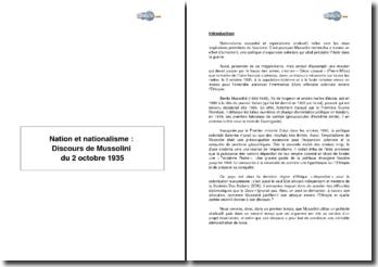 Nation et nationalisme : Discours de Mussolini du 2 octobre 1935