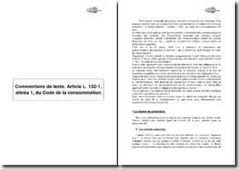 Commentaire de texte. Article L. 132-1, alinéa 1, du Code de la consommation
