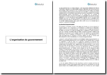 Les structures et formations du gouvernement