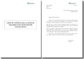 Lettre de motivation pour un poste de consultant junior Santé Sécurité Environnement
