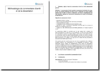 Méthodologie du commentaire d'arrêt et de la dissertation