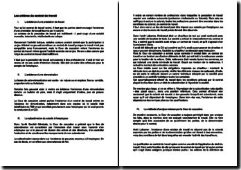 Les critères du contrat de travail