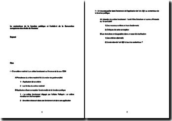 Le contentieux de la fonction publique et l'article 6 de la Convention européenne des droits de l'homme