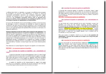 La classification fondée sur la technique de gestion de l'opération d'assurance