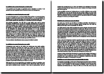 La résiliation d'un contrat d'entreprise en droit suisse