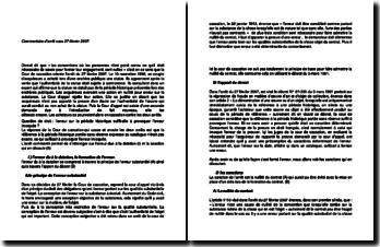 Commentaire d'arrêt de la Cour de cassation du 27 février 2007 : l'action en nullité pour erreur sur la substance