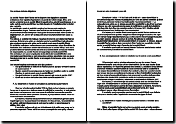 Cas pratique droit des obligations relatif à l'annulation d'un contrat de cautionnement et ses conséquences