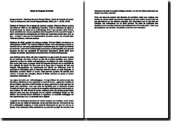 Guide de l'enquête de terrain, d'après un texte de Stephane Beaud et Florence Weber