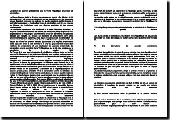 L'exercice des pouvoirs présidentiels sous la Ve République, en période de cohabitation