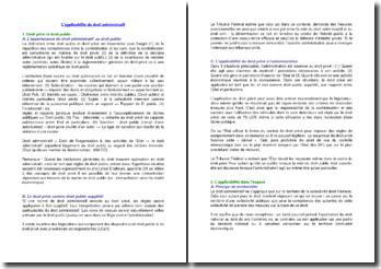 L'applicabilité du droit administratif
