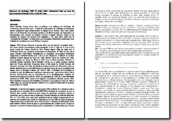 Discours de Carthage - Pierre Mendès France : Déclaration faite au nom du gouvernement français à S.A. le bey de Tunis