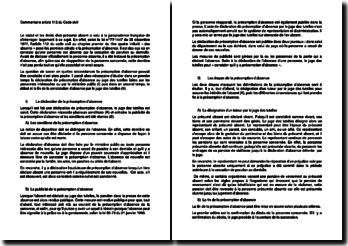 Commentaire article 112 du Code civil relatif à la présomption d'absence