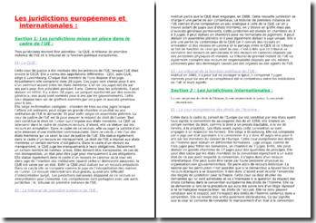 Les juridictions européennes et internationales