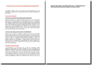 Les relations entre les notions de marché public et de contrat administratif