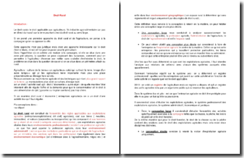 Droit Rural : Formation, caractères et sources du droit rural moderne