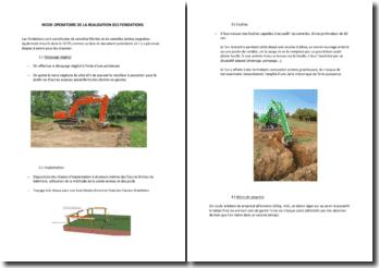 Mode opératoire de la réalisation des fondations