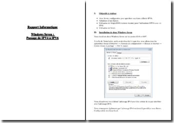 Rapport informatique : Windows Seven : passage de IPV4 à IPV6