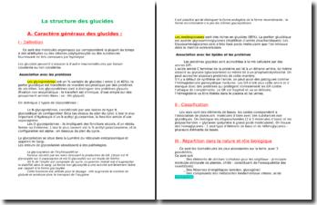La structure des glucides