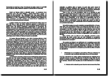 Commentaire de l'arrêt de la Cour Internationale de Justice rendu le 6 avril 1955 dans le cadre de l'affaire Nottebohm opposant le Liechtenstein au Guatemala