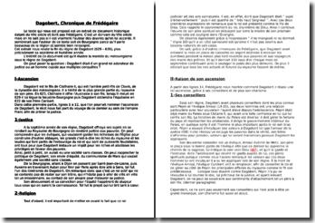 Dagobert, Chronique de Frédégaire (document historique datant du VIIe siècle)