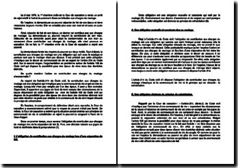 Commentaire d'arrêt de la 1re Chambre civile de la Cour de cassation du 8 mai 1979 : l'octroi du paiement d'une contribution aux charges du mariage