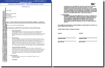 Lettre d'intention de constitution d'entreprise commune